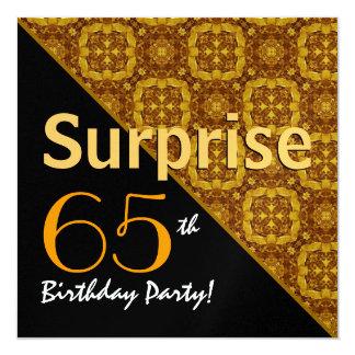 gouden Diagonale Metaal van de 65ste Verjaardag 13,3x13,3 Vierkante Uitnodiging Kaart