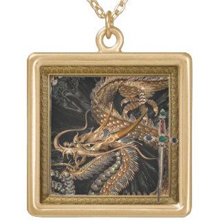 gouden draak en zwaardketting goud vergulden ketting