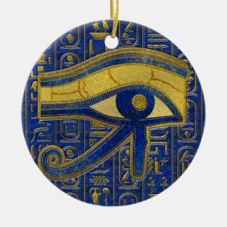 Gouden Egyptisch Oog van Lapis lazuli Horus - Rond Keramisch Ornament