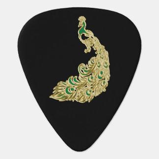 Gouden en groene pauw die helder glimmen gitaar plectrums 0