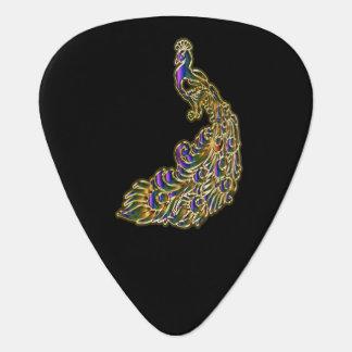 Gouden en paarse pauw die helder glimmen gitaar plectrum 0