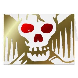 Gouden en Rode Schedel en Gekruiste knekels Kaart