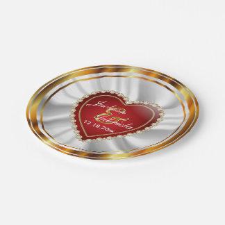 Gouden en Rood Huwelijk of Jubileum Papieren Bordjes