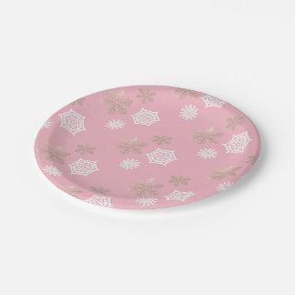 gouden en witte sneeuwvlokken tegen bord - roze