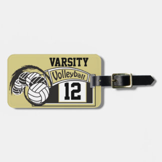 Gouden en Zwart Sportief Volleyball Kofferlabel