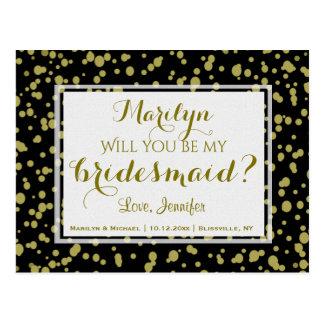 Gouden en Zwarte Glam | zal u Mijn Bruidsmeisje Briefkaart