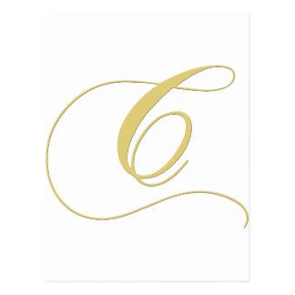 Gouden Enig van de Brief C van het monogram Briefkaart