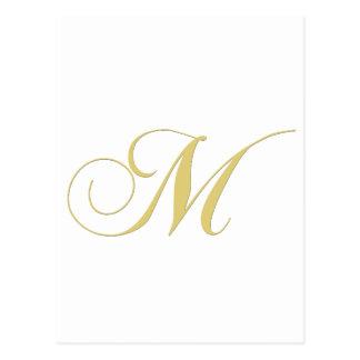 Gouden Enig van de Brief M van het monogram Briefkaart