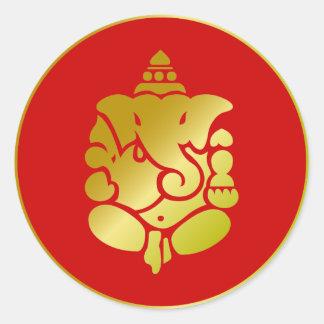 Gouden Ganesha Ronde Sticker