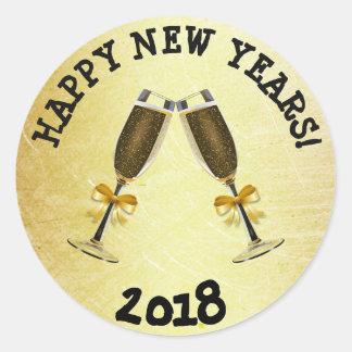 Gouden Gelukkig Nieuwjaar 2018 Stickers