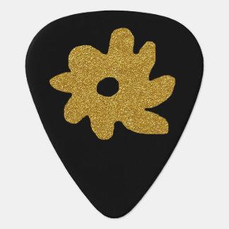 gouden gepersonaliseerde bloem op zwarte, plectrum