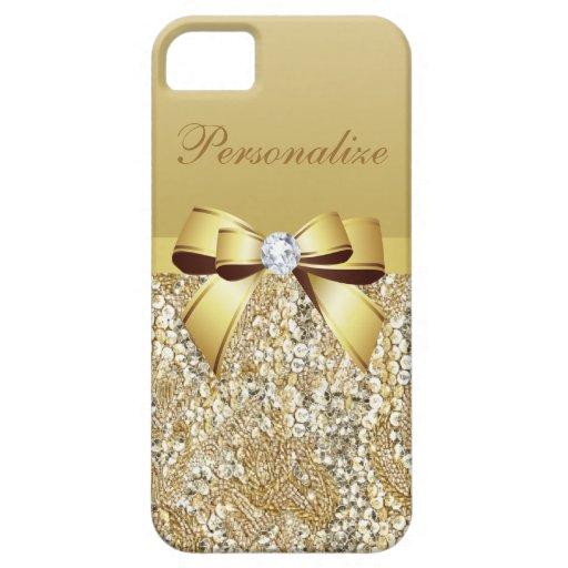 Gouden Gepersonaliseerde Lovertjes, Boog & Diamant iPhone 5 Cases