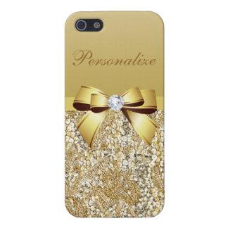 Gouden Gepersonaliseerde Lovertjes, Boog & Diamant iPhone 5 Covers