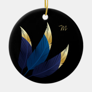 Gouden-getipte Blauwe Veren | Ornament