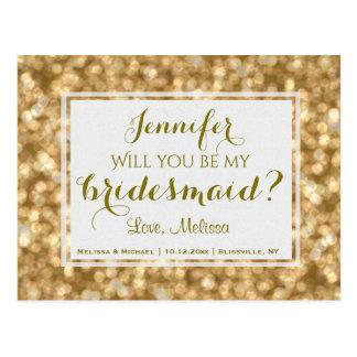 Gouden Glam | zal u Mijn Bruidsmeisje zijn? Briefkaart