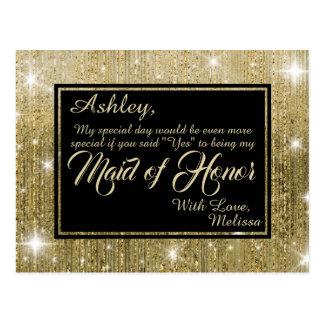 Gouden Glam - zult u Mijn Eerste bruidsmeisje Briefkaart