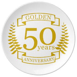 GOUDEN Gouden 50 Jaar van Jubileum 50 van het Porselein Bord