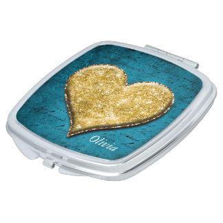 Gouden hart op Wintertaling Handtas Spiegeltje