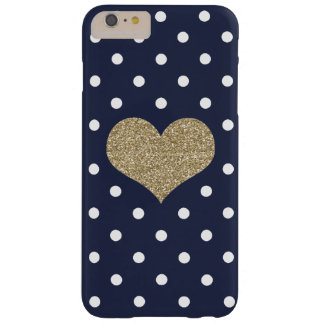 Gouden Hart & Polkadots Blauwe iPhone 6/6s plus Barely There iPhone 6 Plus Hoesje