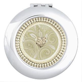 Gouden Heart_Ornate-Paisley_Cream Reisspiegeltjes