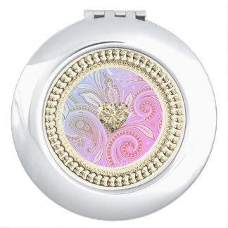 Gouden Heart_Ornate-Paisley_Rose-Glow Reisspiegeltjes