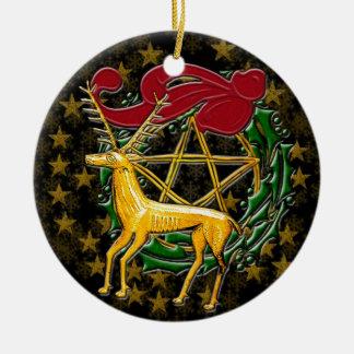 Gouden Herten, Kroon, & Pentacle - Tweezijdige #1 Rond Keramisch Ornament