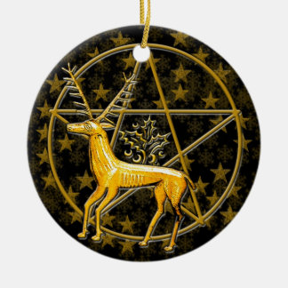 Gouden Herten & Pentacle - Tweezijdige #1 Rond Keramisch Ornament