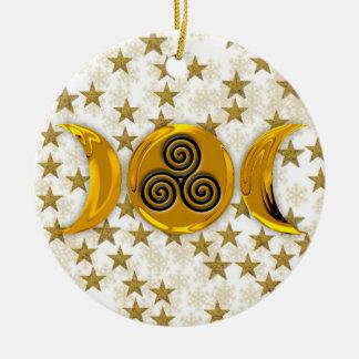 Gouden het sneeuwvlok-Drievoud van de Maan van Rond Keramisch Ornament
