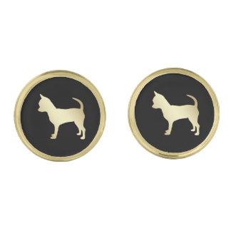 Gouden Hond Chihuahua op Zwarte Vergulde Manchetknopen