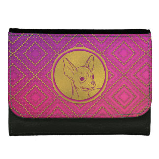 Gouden In reliëf gemaakte Chihuahua op roze Dames Portemonnee