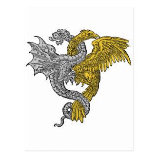 Gouden ineengestrengelde adelaar en zilveren draak briefkaart