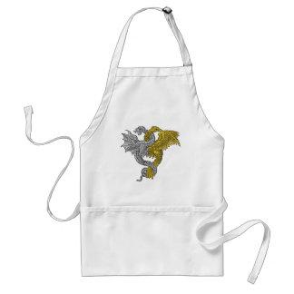 Gouden ineengestrengelde adelaar en zilveren draak standaard schort