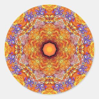 Gouden Iris Mandala Nr 1 Ronde Sticker