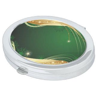 Gouden Kerstmis beweging veroorzakend met groene Makeup Spiegels
