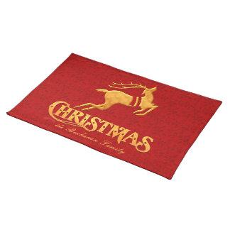 Gouden Kerstmis van de Familie van het Rendier met Placemat