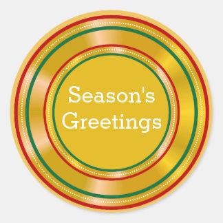Gouden Kerstmis van de Groeten van de Seizoenen Ronde Sticker