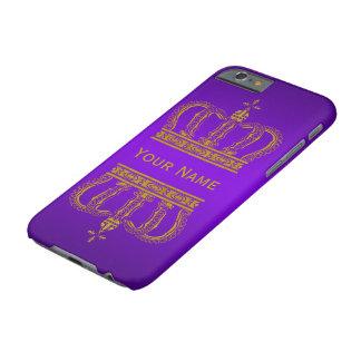 Gouden Koninklijke Kroon + uw backgr. & tekst Barely There iPhone 6 Hoesje