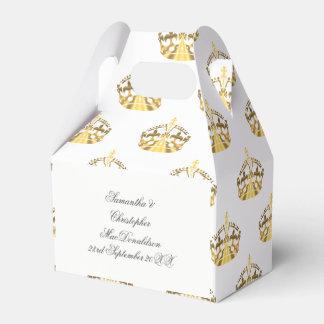 Gouden kroon op het huwelijk van de douanekleur bedankdoosjes