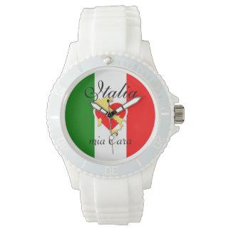 Gouden Land van het Hart van de Vlag van Italië Horloges