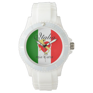 Gouden Land van het Hart van de Vlag van Italië Polshorloge