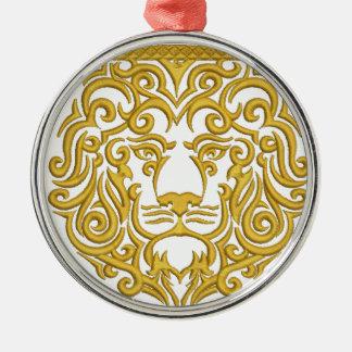 gouden leeuw in de kroon zilverkleurig rond ornament
