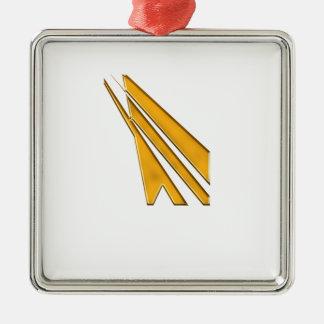 gouden logo zilverkleurig vierkant ornament