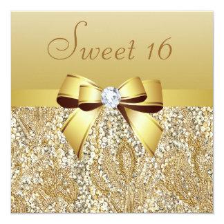 Gouden Lovertjes, Snoepje 16 van de Boog & van de 13,3x13,3 Vierkante Uitnodiging Kaart