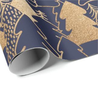 Gouden Luim van de Marine van de kerstboom Inpakpapier
