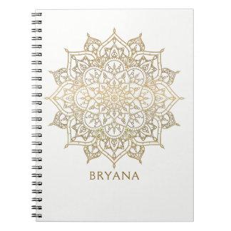Gouden Mandala Witte Elegante Glamour Moderne Glam Notitieboek