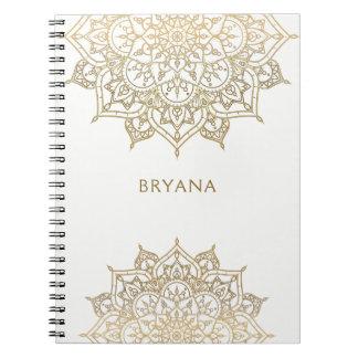Gouden Mandala Witte Elegante Glamour Moderne Glam Ringband Notitieboek