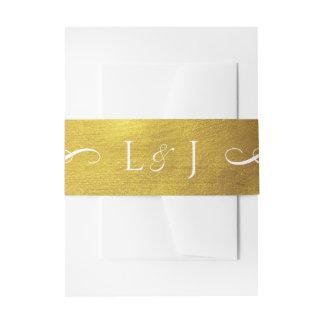 Gouden Monogram Glam en de Elegante Band van de Uitnodigingen Wikkel