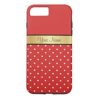 Gouden Monogram op de Elegante Rode, Witte Stippen iPhone 8/7 Plus Hoesje