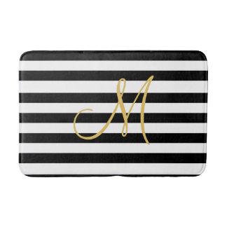 Gouden Monogram op stevige zwart-witte strepen Badmatten