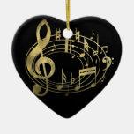 Gouden muzieknoten in ovale vorm kerstboom ornament